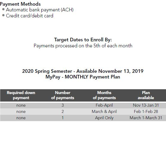 2020 Spring My Payment Plan Image